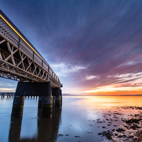 Long exposure image of the Tay Rail Bridge at sunset, Dundee, Scotland. DD033