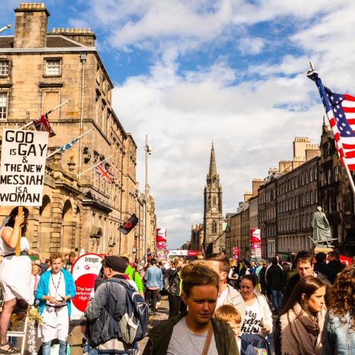 Edinburgh High Street, during the International Festival Fringe, Scotland, United Kingdom.