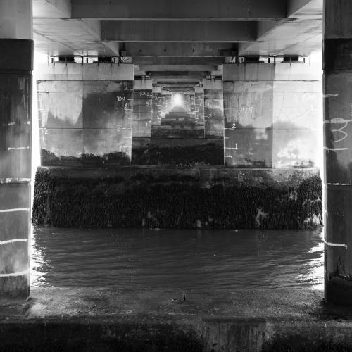 Monochrome (black and white) image of the underside of the Tay Road Bridge, Dundee, Scotland. DD012