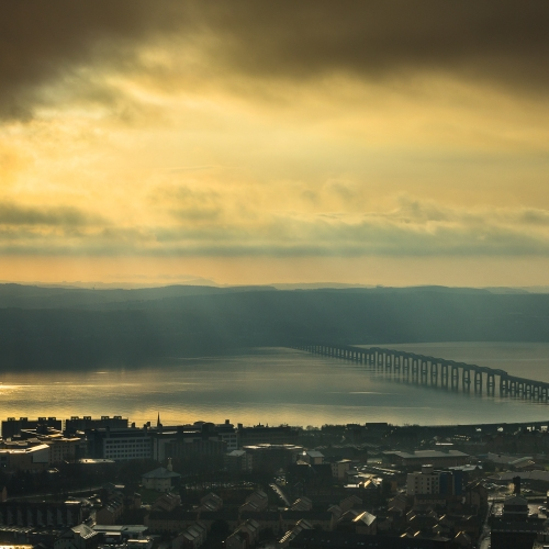 The Tay Rail Bridge from Dundee Law, Dundee, Scotland. DD037