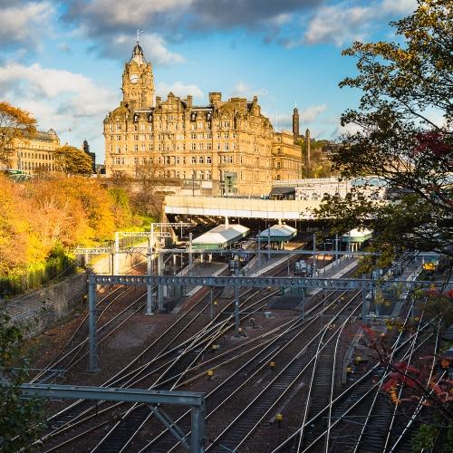 Waverley Station and the Balmoral Hotel on New Year's Day, Edinburgh, Scotland, United Kingdom.