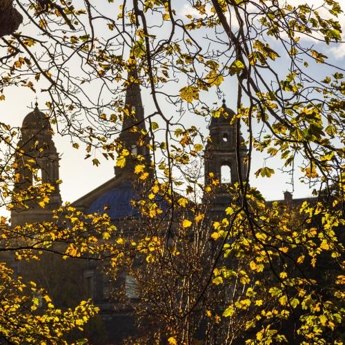 Towers and spire of St Cuthbert's Parish Church, Edinburgh, Scotland. EH021