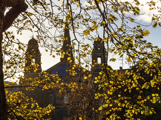 Towers and spire of St Cuthbert's Parish Church at the west end of Princes Street Gardens, Edinburgh, Scotland, United Kingdom.