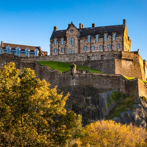 Edinburgh Castle from Princes Street Gardens, Edinburgh, Scotland, United kingdom.
