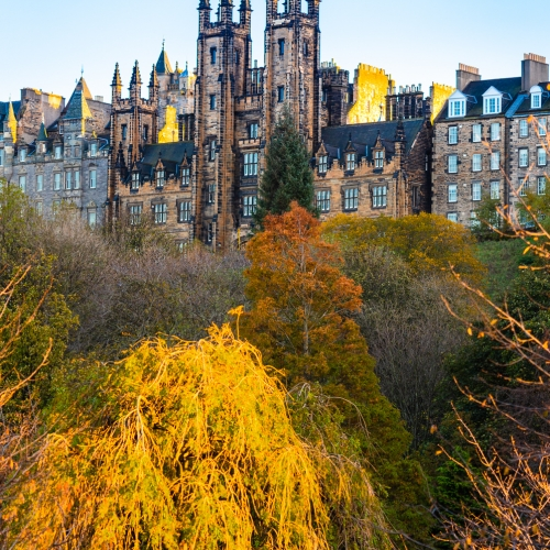 'New College' building of the University of Edinburgh, which also houses the Assembly Hall of the Church of Scotland, Edinburgh, Scotland, United Kingdom.