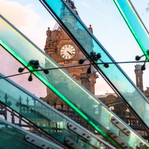 The Balmoral Hotel seen through the Waverley Mall entrance canopy, Edinburgh, Scotland, United Kingdom.