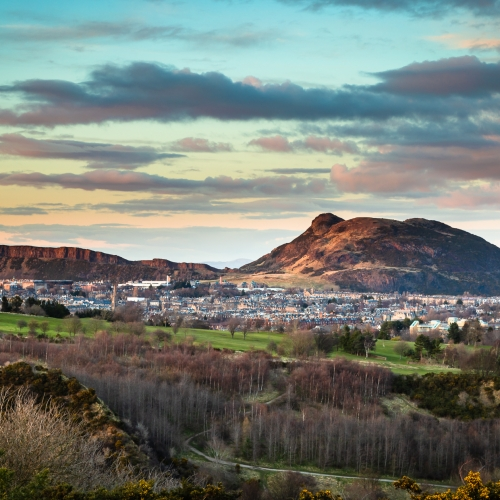 Arthur's Seat and Salisbury Crags, from the Braid Hills, Edinburgh, Scotland. EH039
