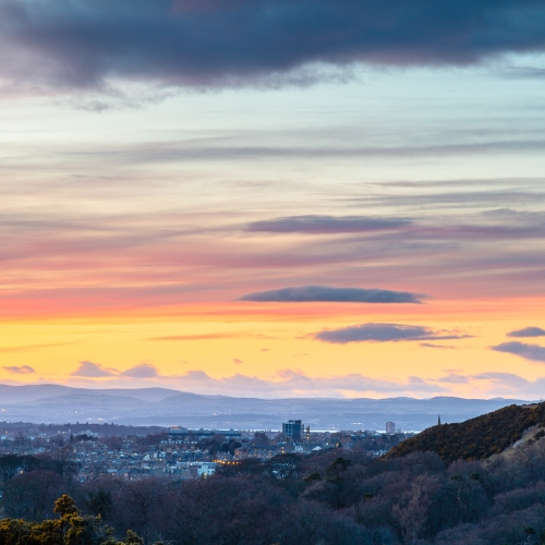 View of Western Edinburgh, immediately after sunset, from the Braid Hills.