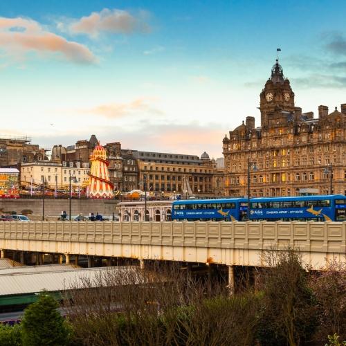 Waverley Bridge and the Balmoral Hotel on New Years Day, Edinburgh, Scotland, United Kingdom.