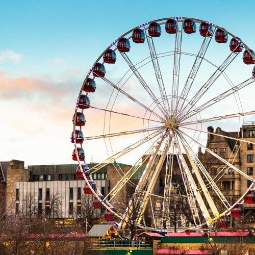 Giant Ferris Wheel in Princes Street, Gardens on New Year's Day, Edinburgh, Scotland, United Kingdom.