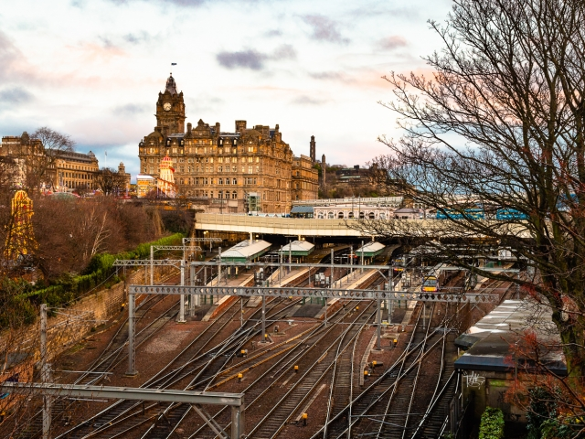 Waverley Station and the Balmoral Hotel on New Year's Day, Edinburgh, Scotland, United Kingdom.