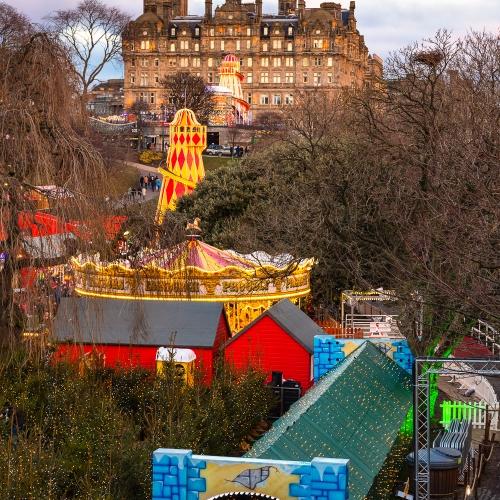 Amusements in Princes Street, Gardens on New Years Day, Edinburgh, Scotland, United Kingdom.
