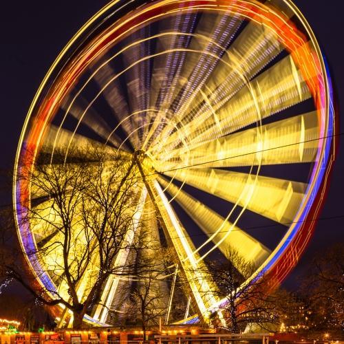Giant Ferris Wheel in Princes Street, Gardens on New Years Day, Edinburgh, Scotland, United Kingdom.