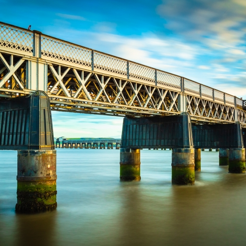 Long exposure image of the Tay Rail Bridge at sunset, Dundee, Scotland. DD003