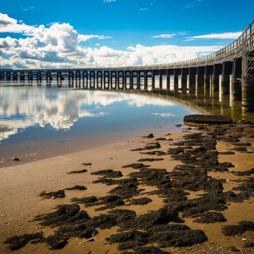 The Tay Rail Bridge at low tide, Dundee, Scotland. DD004