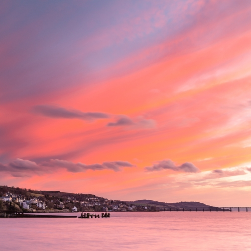 Long exposure image of dramatic sunset sky over Newport-on-Tay, Fife, Scotland. DD025