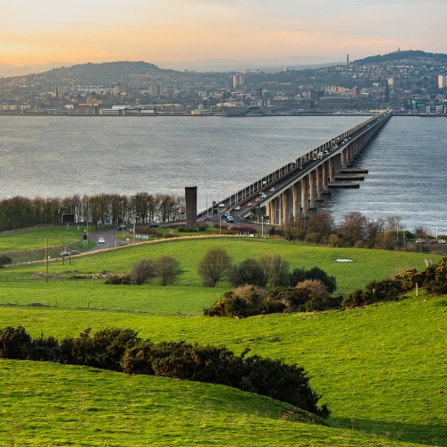 View of Dundee and the Tay Road Bridge, from Northfield, Fife, Scotland. DD046