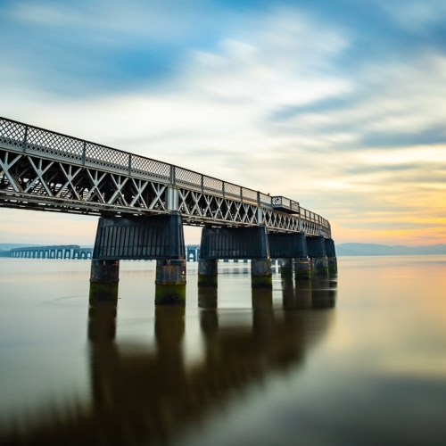 Long exposure image of the Tay Rail Bridge at sunset, Dundee, Scotland. DD042