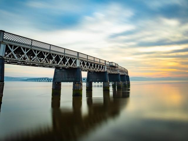 Long exposure image of the Tay Rail Bridge at sunset, Dundee, Scotland. DD042
