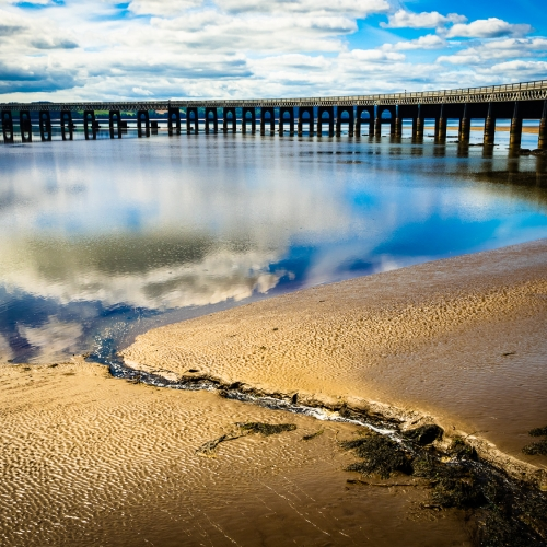 The Tay and the Rail Bridge at low tide from Dundee, Scotland. DD054