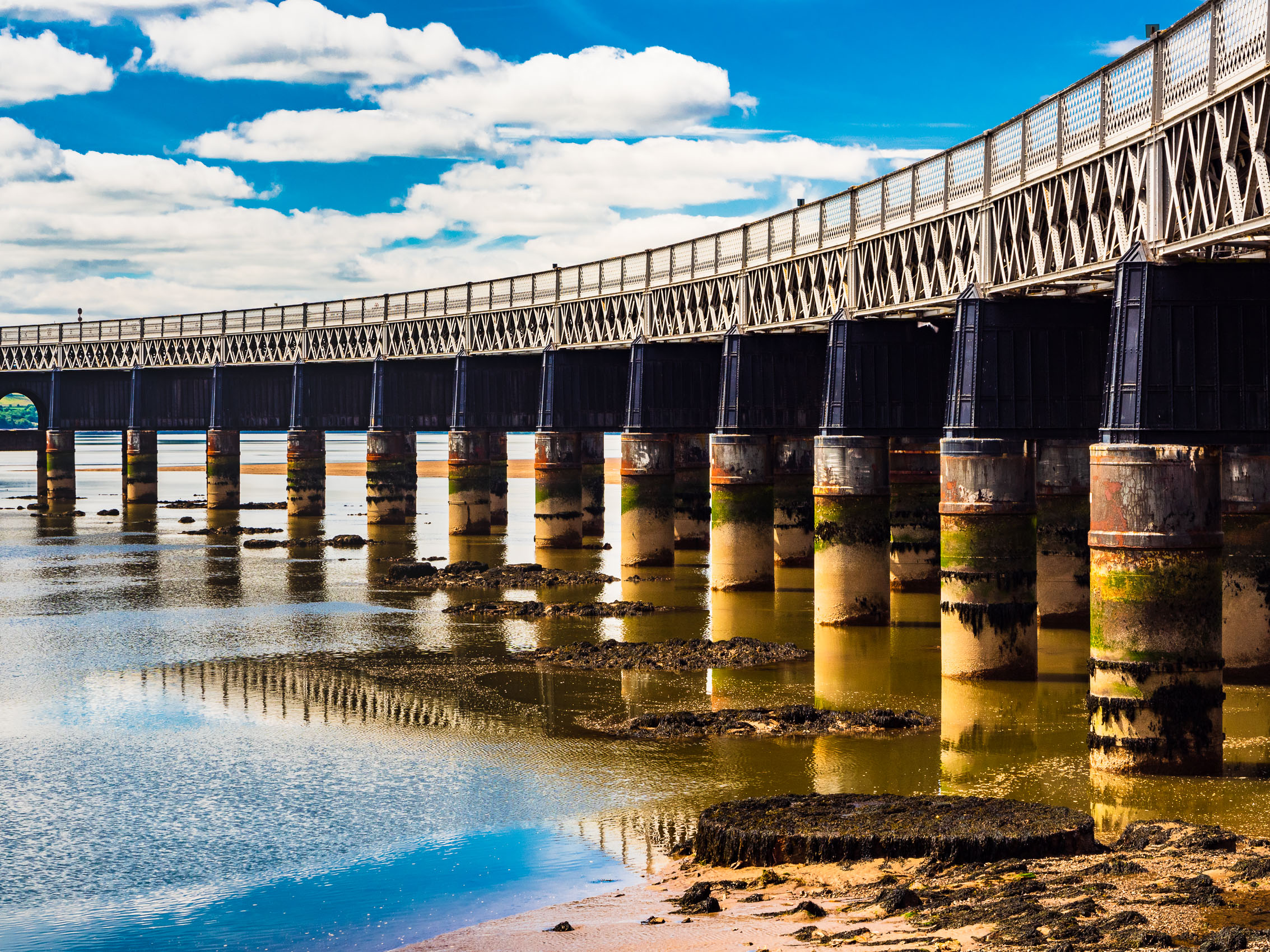 The Tay Rail Bridge at low tide from Dundee, Scotland. DD055