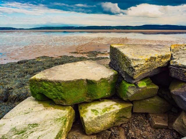 Derelict stone pier at Invergowrie, Scotland. DD102