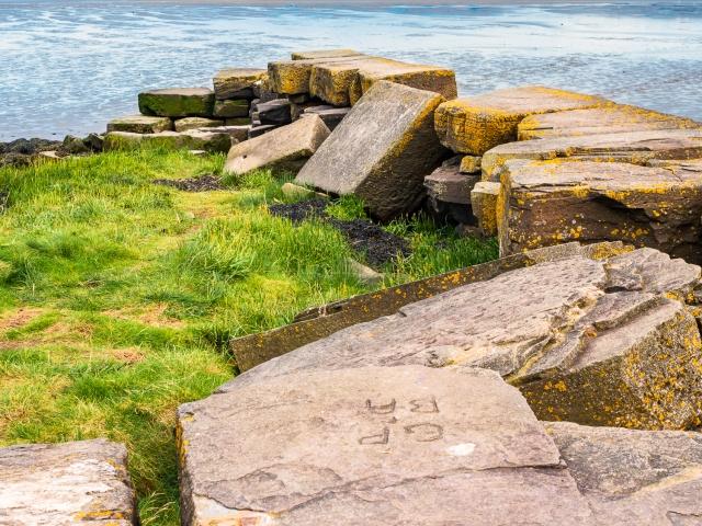 Derelict stone pier at Invergowrie, Scotland. DD103