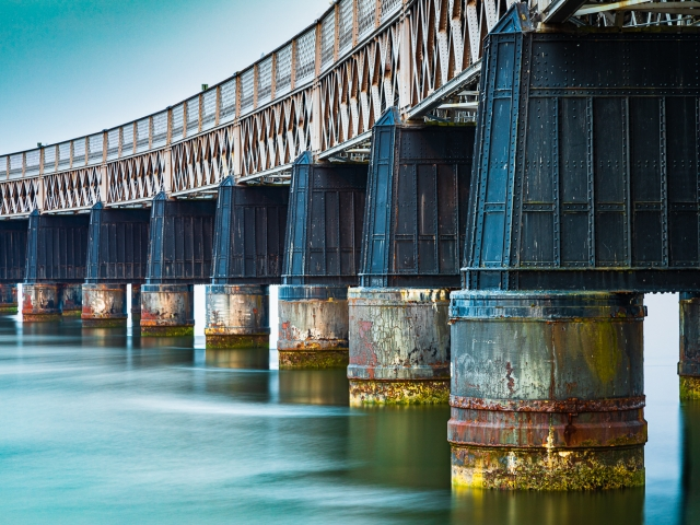 Long exposure image of the piers of the Tay Rail Bridge at the Dundee end, Scotland. DD092