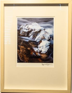 Box framed print of 'Ice Jewel', Tom's Creek, North Carolina. USA