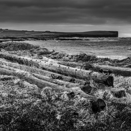 Old telegraph poles by the Bay of Birsay, Mainland, Orkney Isles, Scotland.