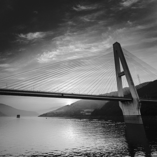 Fengjie Yangtze Bridge at sunrise, China.