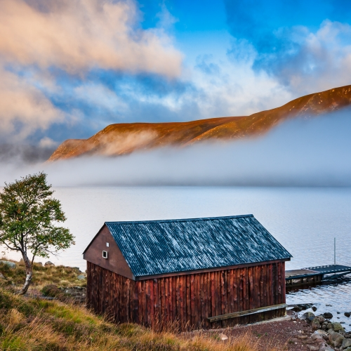 Boathouse on Loch Muick, Carngorms National Park, Scotland.