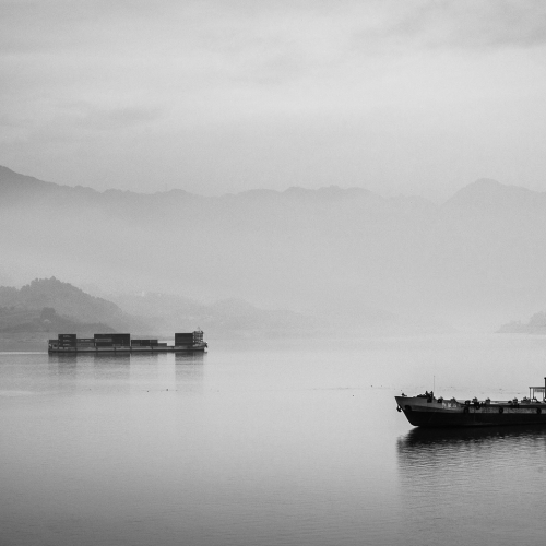 Ships on the Yangtze at Zigui Harbour, China.