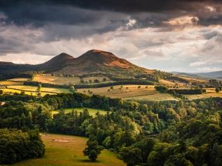 The Eildon Hills from Scott's View, The Borders, Scotland.