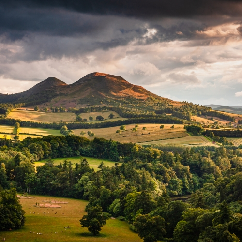 The Eildon Hills from Scott's View, The Borders, Scotland.