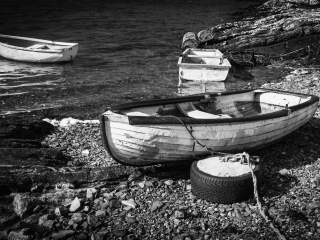 Moored boats, Connemara, Ireland.