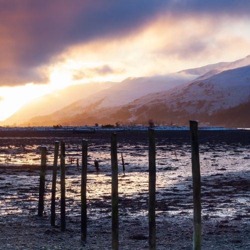 Sunset from the head of Loch Linnhe at Caol, Scotland.