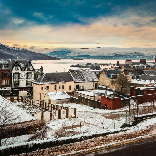 View of a snowy Fort William and Loch Linnhe, Lochaber, Scptland.