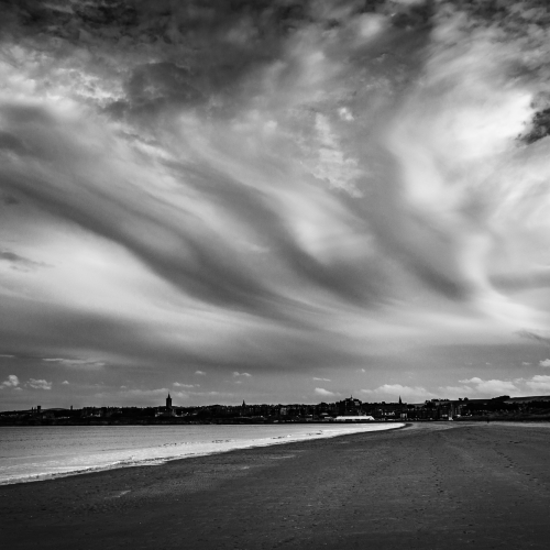 Cloud formation over the West Sands, St Andrews, Fife, Scotland.