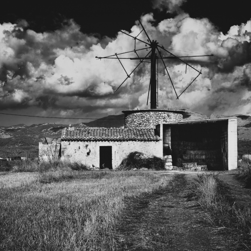 Derelict windmill, Mallorca, Balearic Islands, Spain.