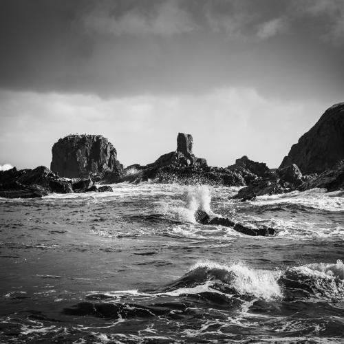 Rock and waves at Tarlair, Moray Coast, Scotland.
