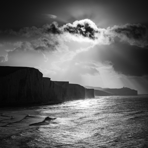 The Seven Sisters cliffs from Cuckmere, East Sussex, England.