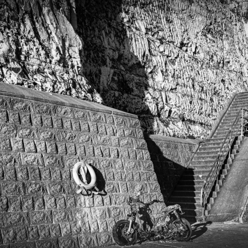 Sea wall and steps at Peacehaven, East Sussex, England.