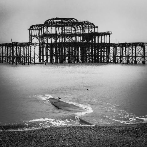 The derelict East Pier, Brighton, England.