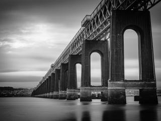 Southern pillars of the Tay Rail Bridge, Wormit, Fife, Scotland.