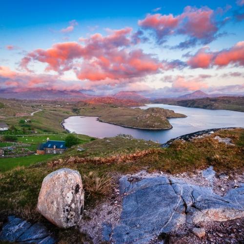 Loch Sheigra and Loch Inchard from Kinlochbervie, Sutherland, Scotland.