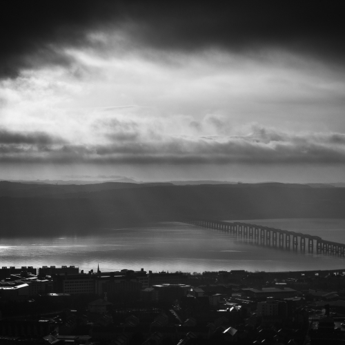 The Tay Rail Bridge from Dundee Law, Dundee, Scotland, United Kingdom.