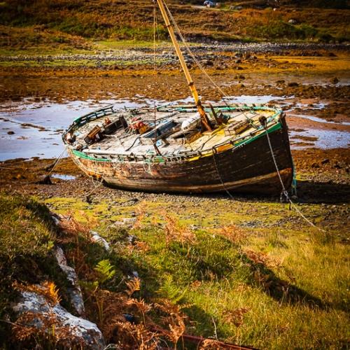 Abandoned boat at Culduie, Applecross, Scotland. AP031