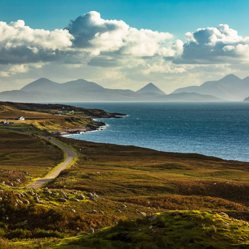 The Coast of Applecross and the Cuillins of Skye from near Cuaig, Scotland. AP032
