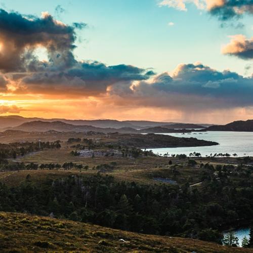 Sunset over Applecross and Loch Torridon, Wester Ross, Scotland. AP039